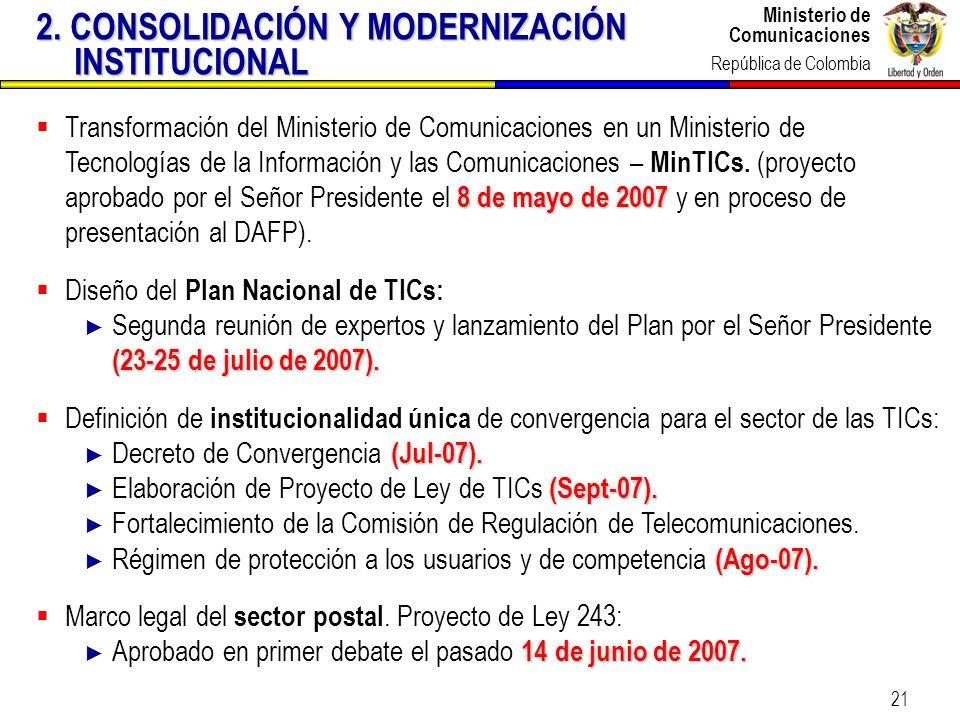 2. CONSOLIDACIÓN Y MODERNIZACIÓN INSTITUCIONAL