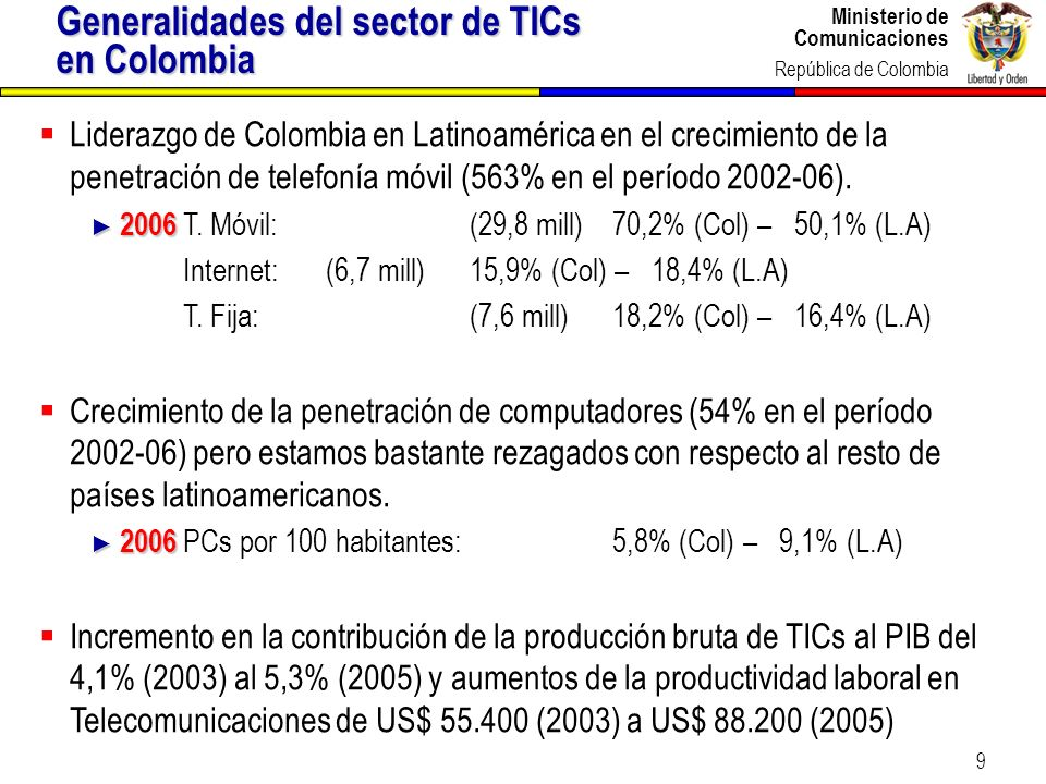 Generalidades del sector de TICs en Colombia