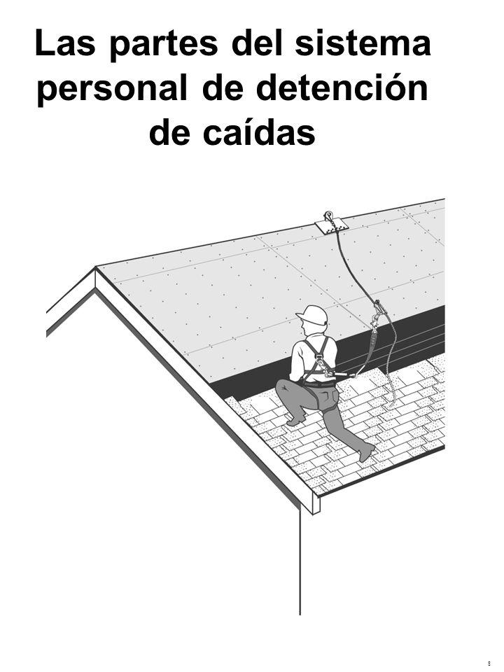 Las partes del sistema personal de detención de caídas