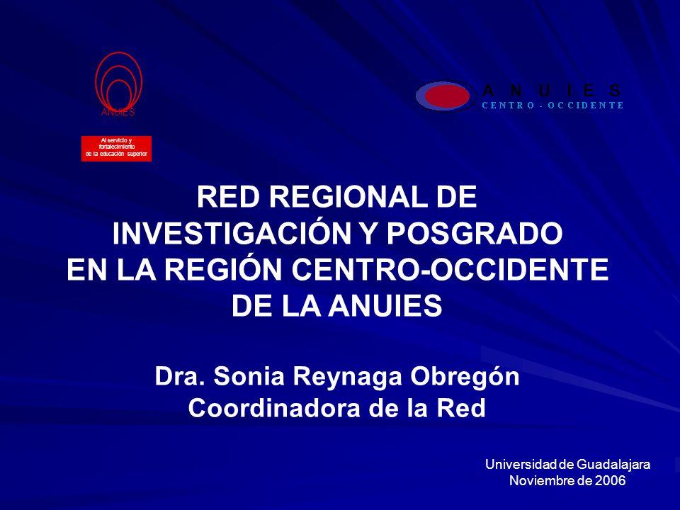 INVESTIGACIÓN Y POSGRADO EN LA REGIÓN CENTRO-OCCIDENTE DE LA ANUIES