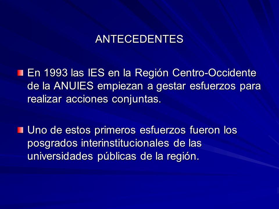 ANTECEDENTES En 1993 las IES en la Región Centro-Occidente de la ANUIES empiezan a gestar esfuerzos para realizar acciones conjuntas.