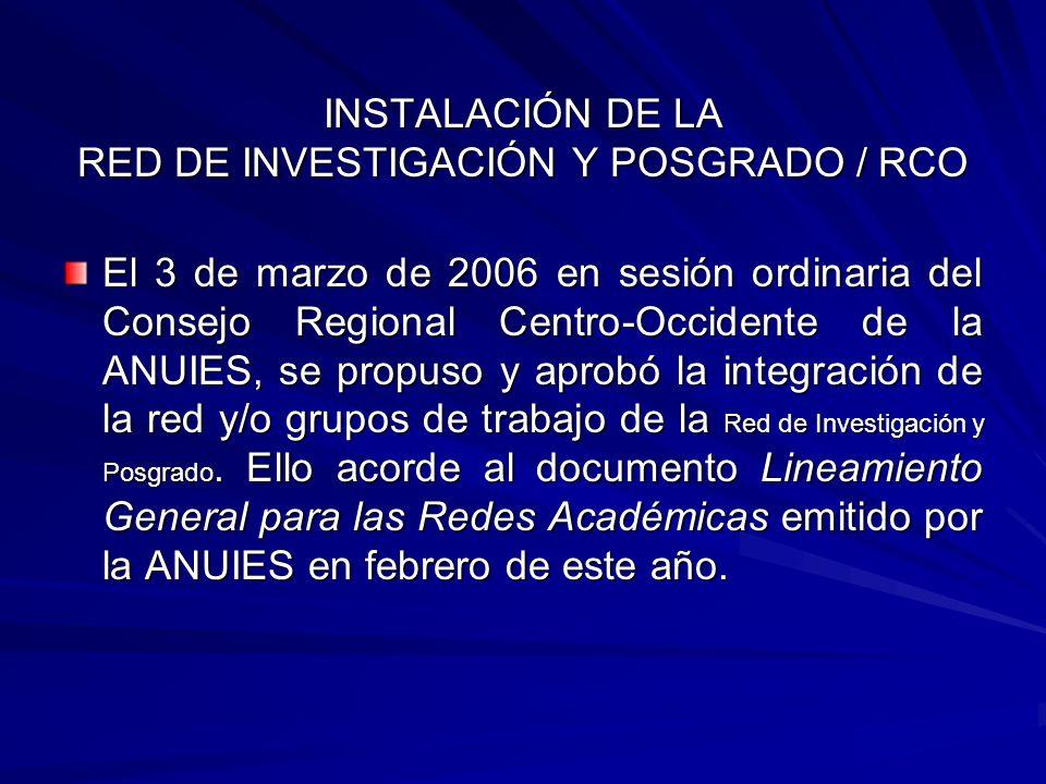 INSTALACIÓN DE LA RED DE INVESTIGACIÓN Y POSGRADO / RCO
