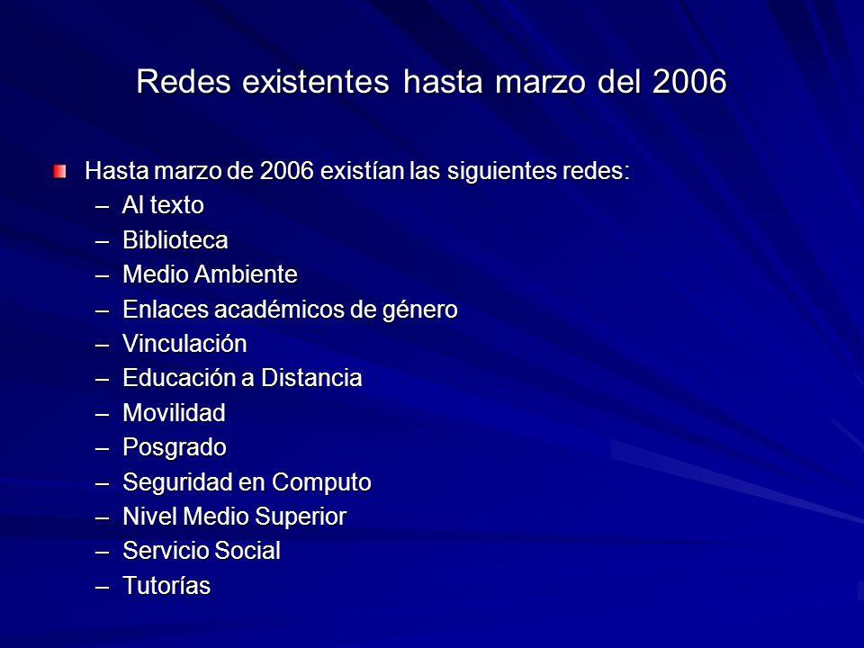 Redes existentes hasta marzo del 2006