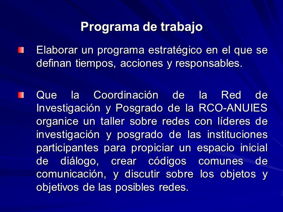 Programa de trabajo Elaborar un programa estratégico en el que se definan tiempos, acciones y responsables.