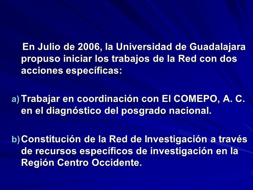 En Julio de 2006, la Universidad de Guadalajara propuso iniciar los trabajos de la Red con dos acciones específicas: