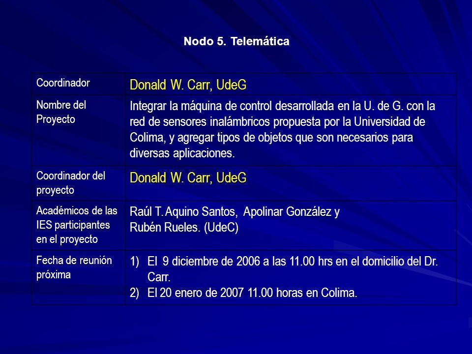 Nodo 5. Telemática Coordinador. Donald W. Carr, UdeG. Nombre del Proyecto.