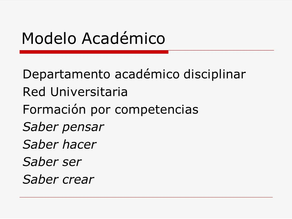 Modelo Académico Departamento académico disciplinar Red Universitaria