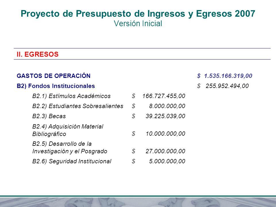 Proyecto de Presupuesto de Ingresos y Egresos 2007 Versión Inicial