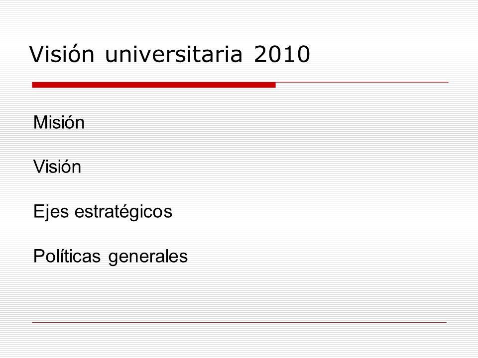 Visión universitaria 2010 Misión Visión Ejes estratégicos