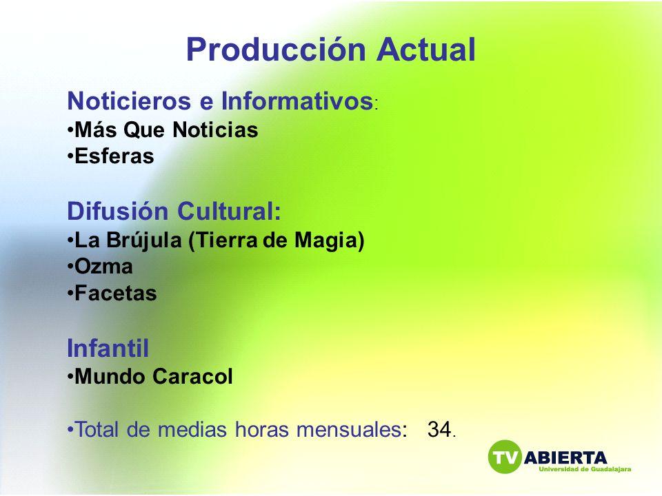 Producción Actual Noticieros e Informativos: Difusión Cultural: