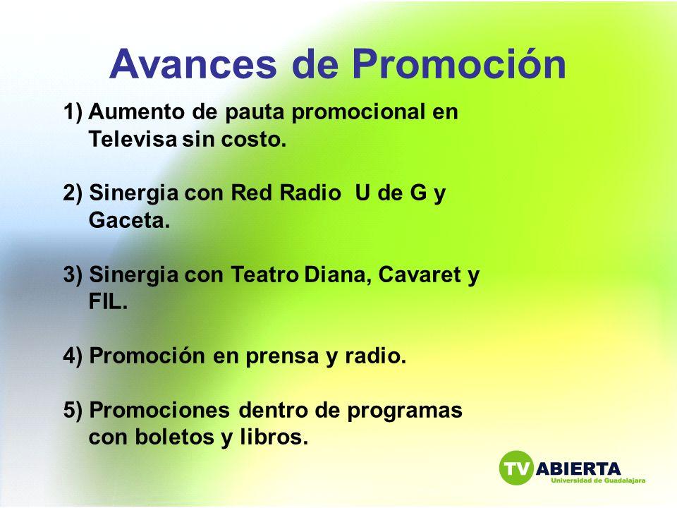 Avances de Promoción Aumento de pauta promocional en Televisa sin costo. 2) Sinergia con Red Radio U de G y Gaceta.