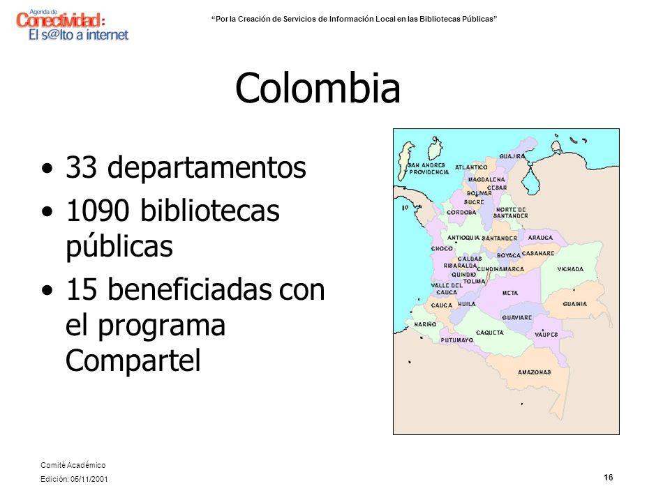 Colombia 33 departamentos 1090 bibliotecas públicas