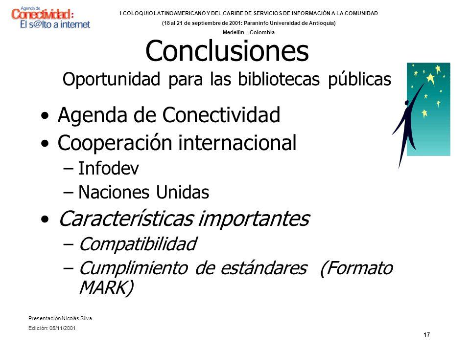 Conclusiones Oportunidad para las bibliotecas públicas