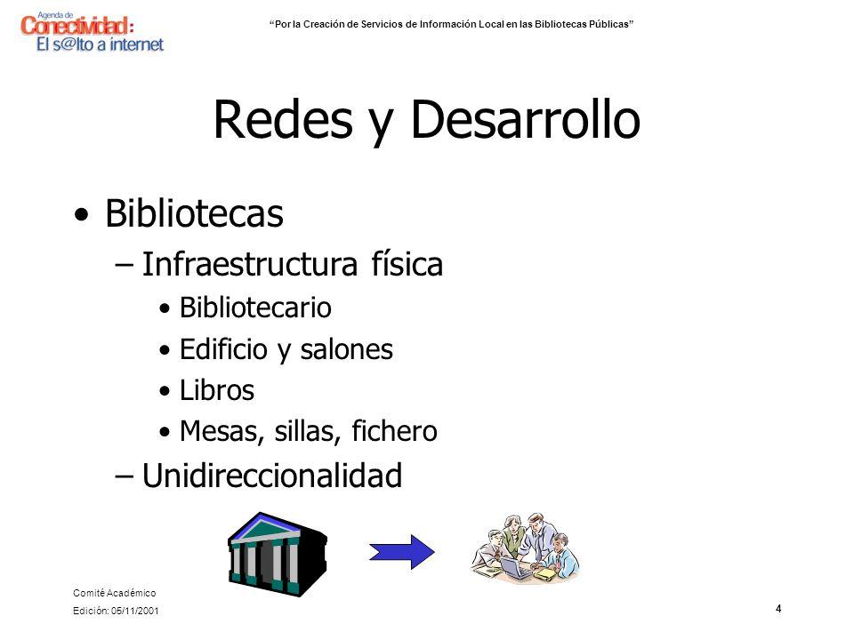 Redes y Desarrollo Bibliotecas Infraestructura física
