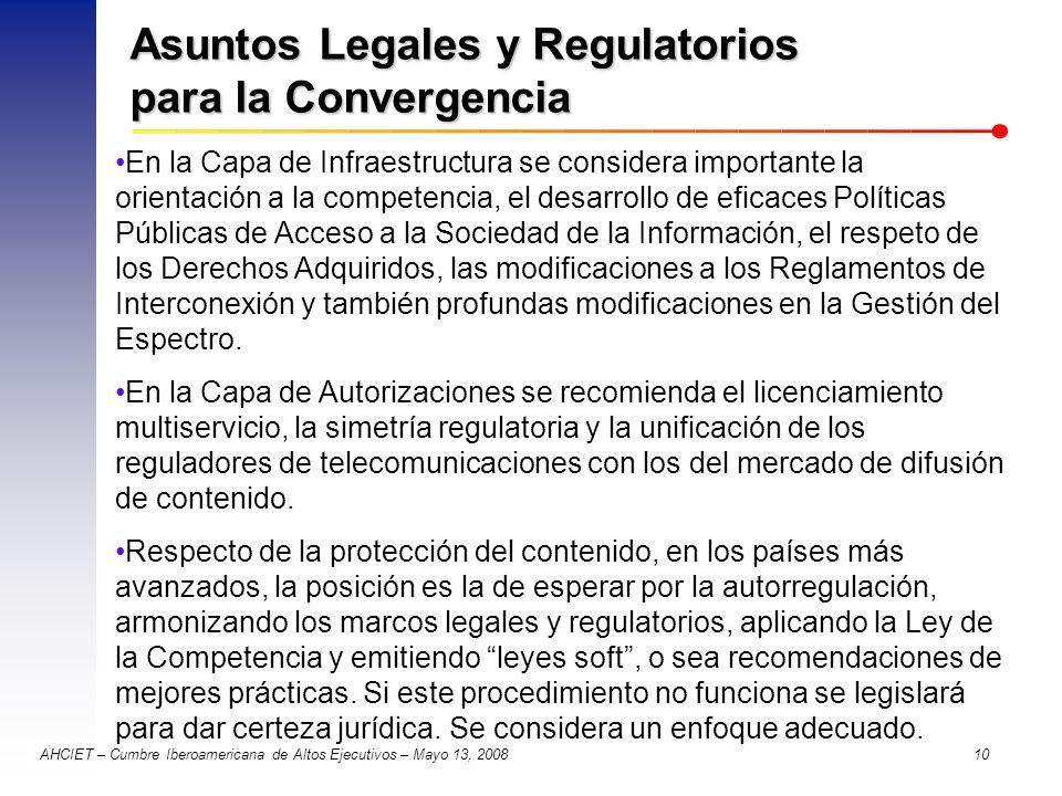Asuntos Legales y Regulatorios para la Convergencia