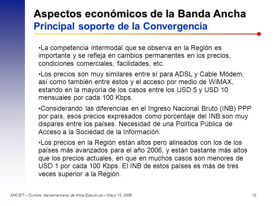 Aspectos económicos de la Banda Ancha Principal soporte de la Convergencia