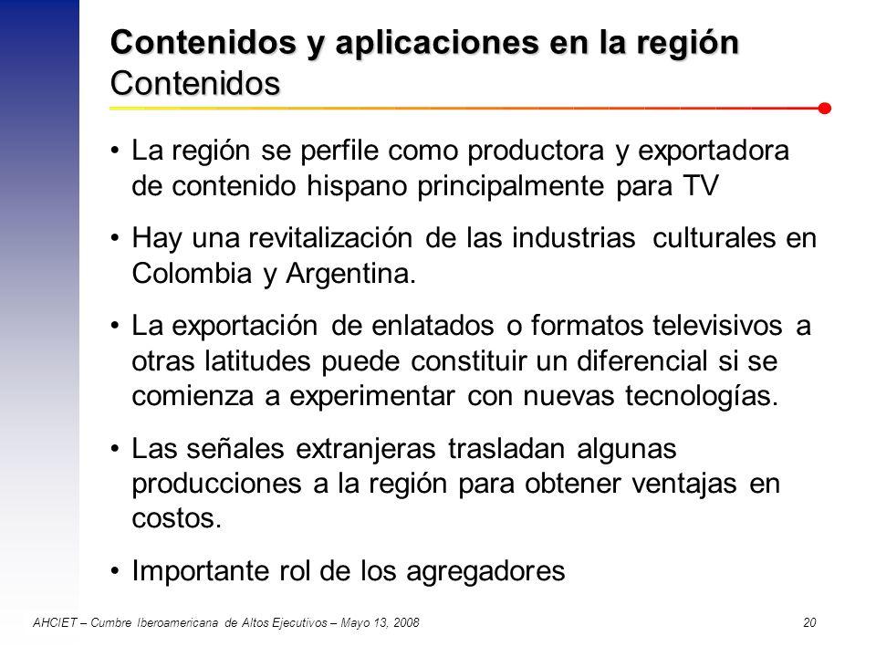 Contenidos y aplicaciones en la región Contenidos