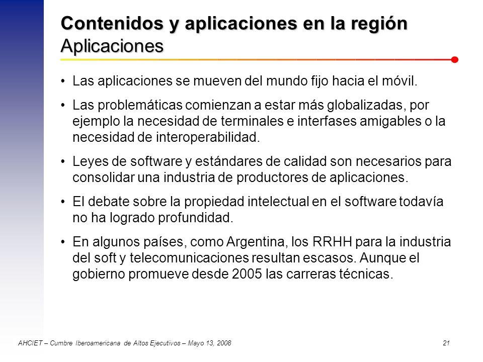 Contenidos y aplicaciones en la región Aplicaciones