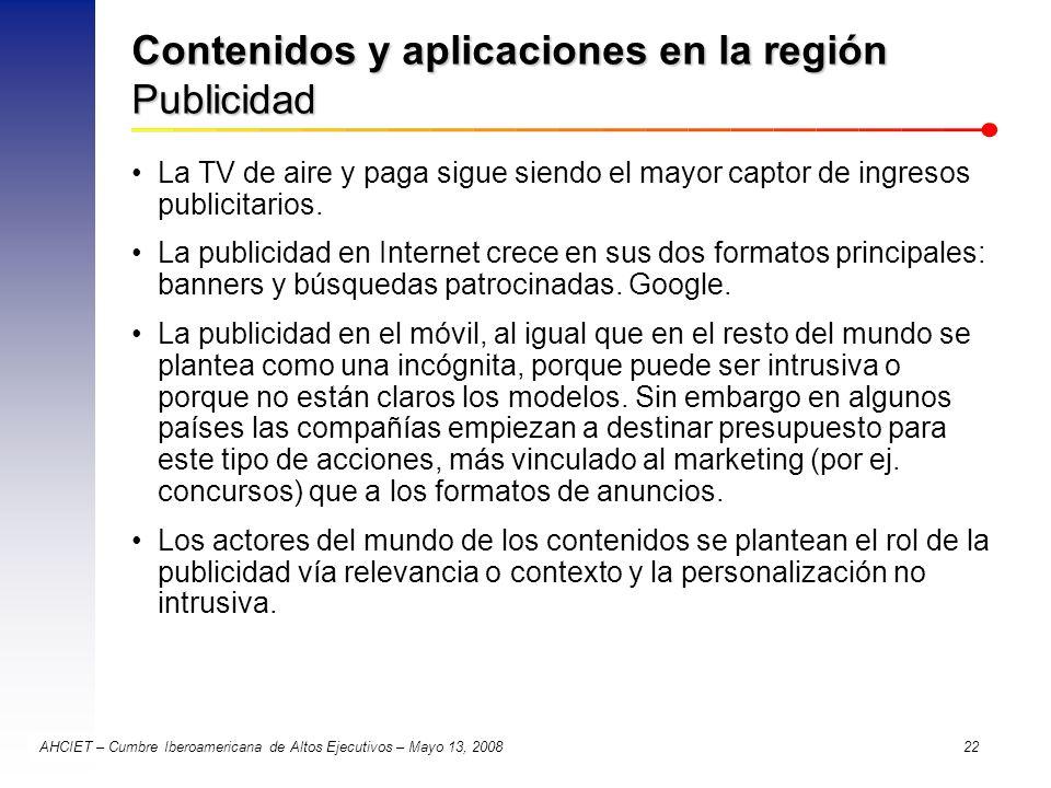 Contenidos y aplicaciones en la región Publicidad