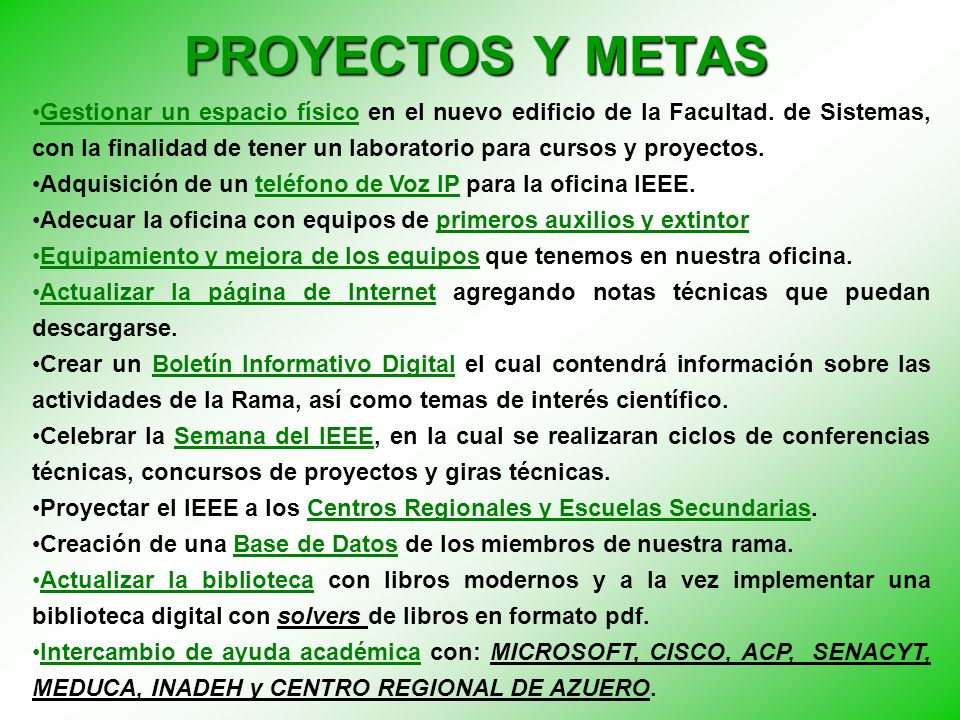 PROYECTOS Y METAS