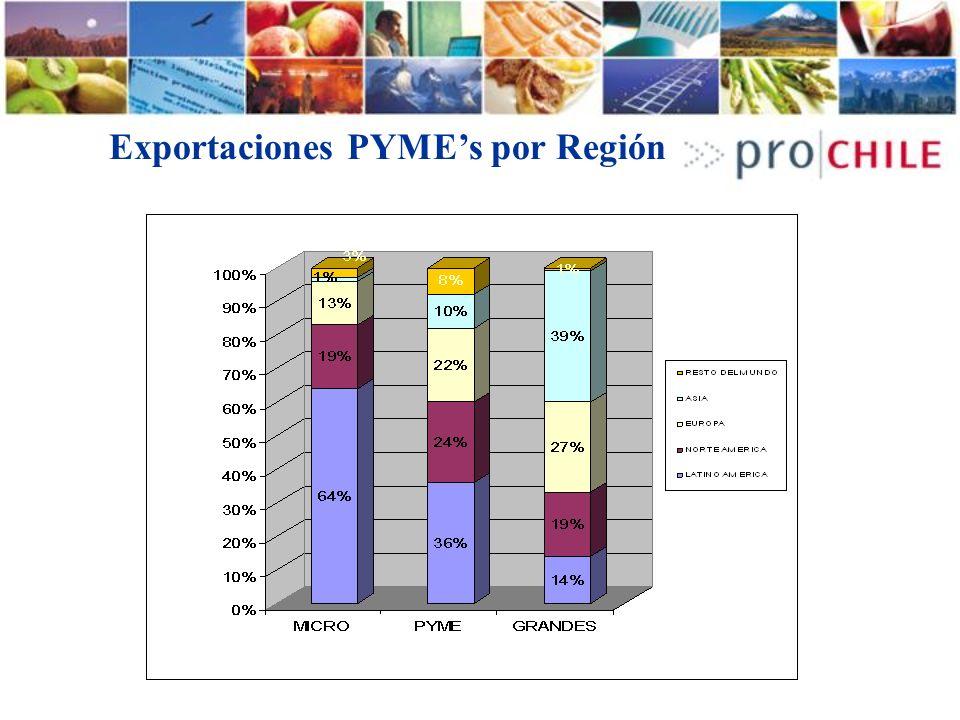 Exportaciones PYME's por Región