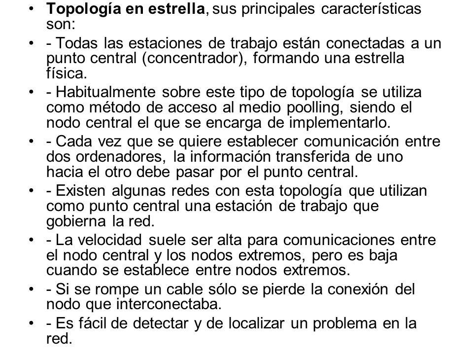 Topología en estrella, sus principales características son: