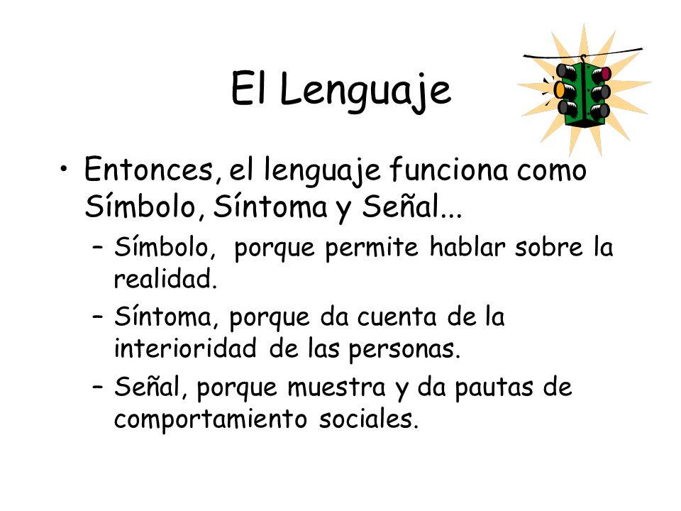 El Lenguaje Entonces, el lenguaje funciona como Símbolo, Síntoma y Señal... Símbolo, porque permite hablar sobre la realidad.
