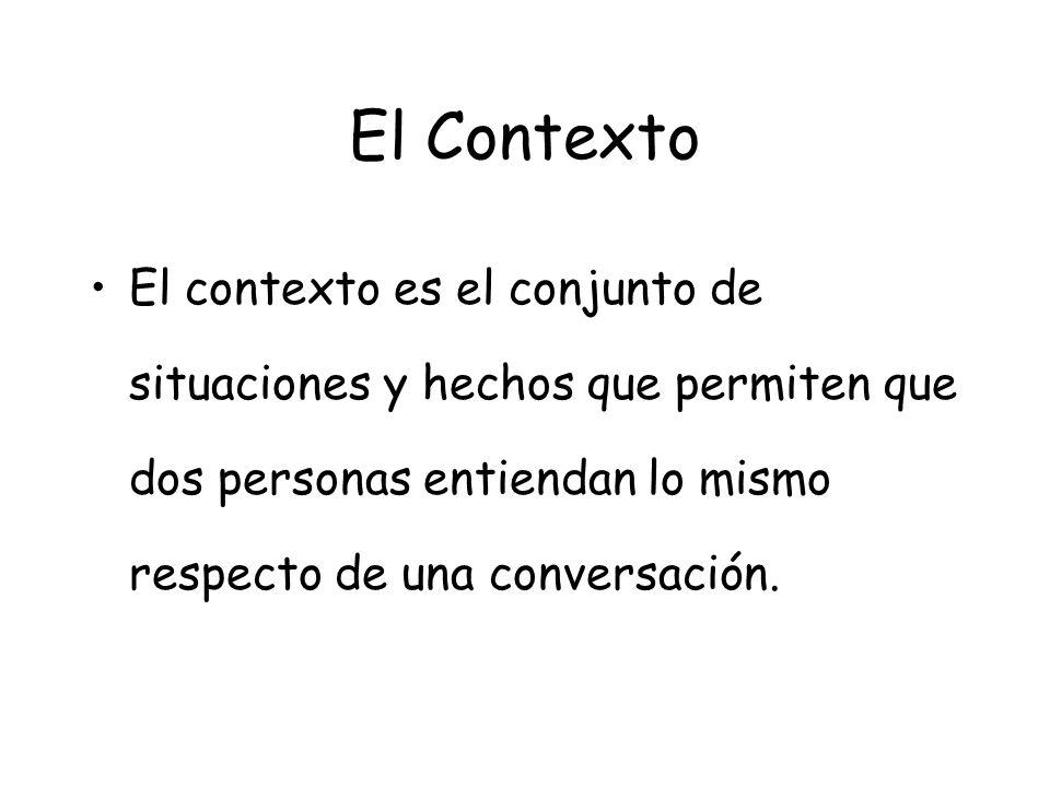 El Contexto El contexto es el conjunto de situaciones y hechos que permiten que dos personas entiendan lo mismo respecto de una conversación.