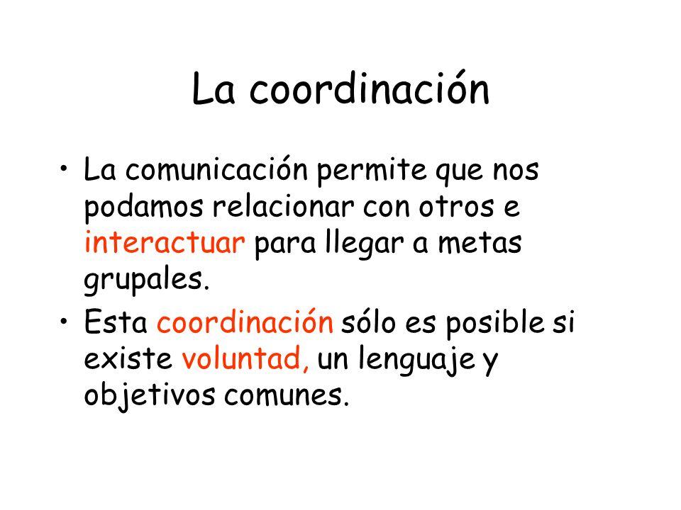 La coordinación La comunicación permite que nos podamos relacionar con otros e interactuar para llegar a metas grupales.