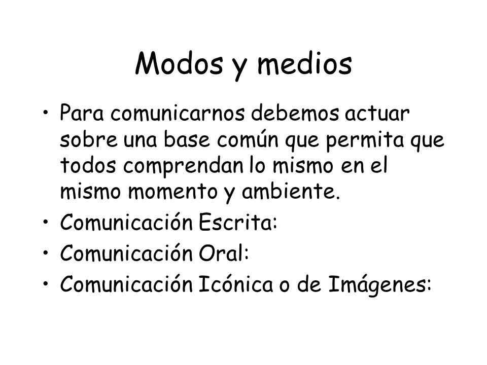 Modos y medios Para comunicarnos debemos actuar sobre una base común que permita que todos comprendan lo mismo en el mismo momento y ambiente.
