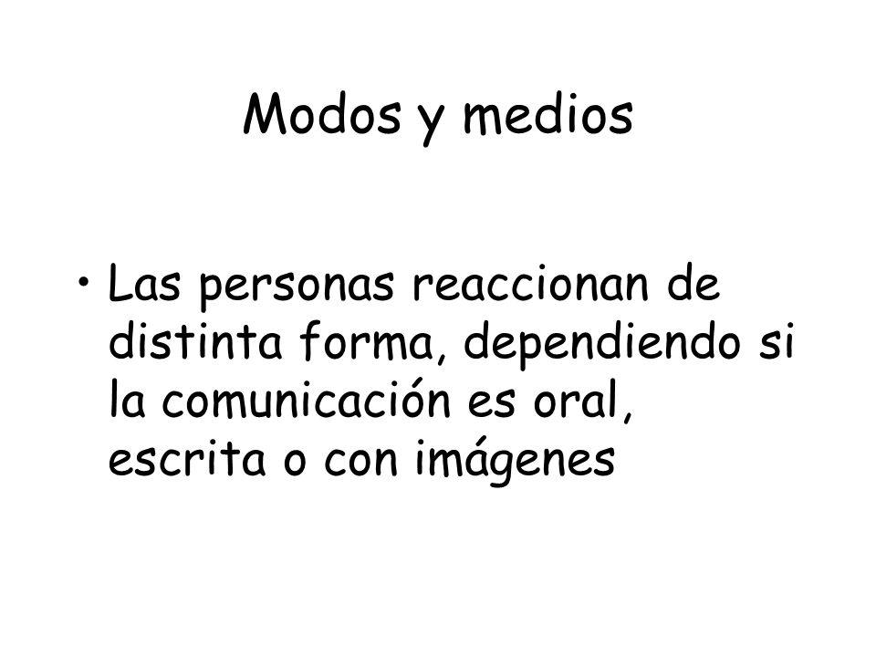 Modos y medios Las personas reaccionan de distinta forma, dependiendo si la comunicación es oral, escrita o con imágenes.
