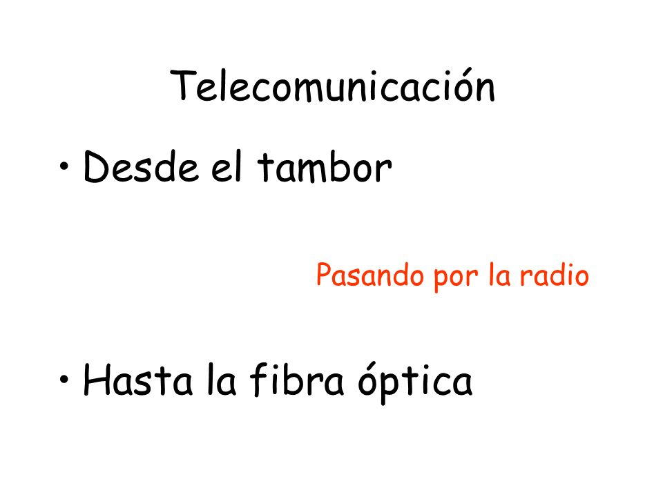 Telecomunicación Desde el tambor Hasta la fibra óptica