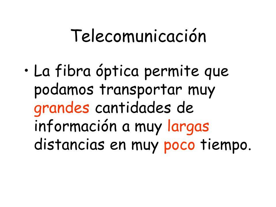 Telecomunicación La fibra óptica permite que podamos transportar muy grandes cantidades de información a muy largas distancias en muy poco tiempo.