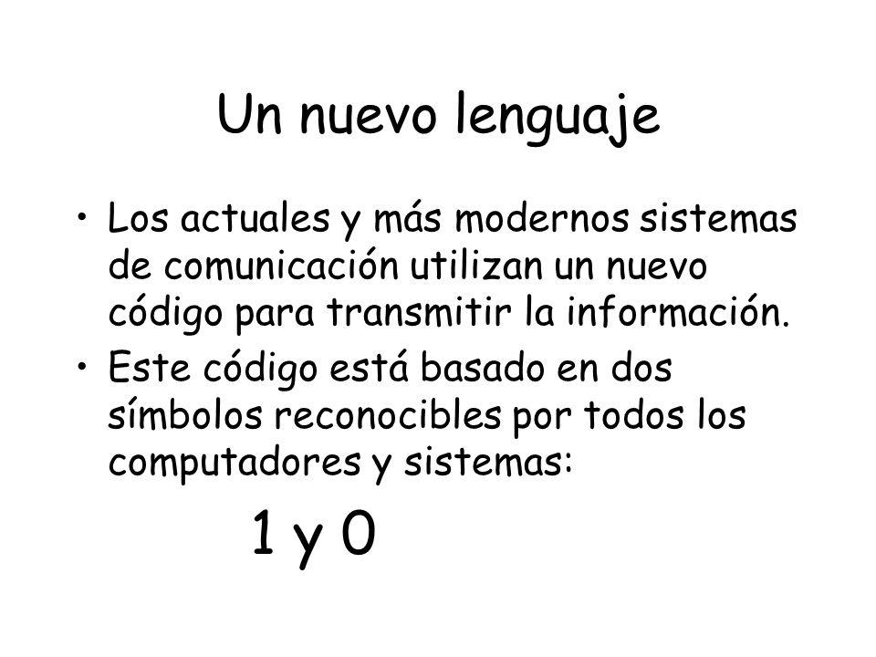 Un nuevo lenguaje Los actuales y más modernos sistemas de comunicación utilizan un nuevo código para transmitir la información.
