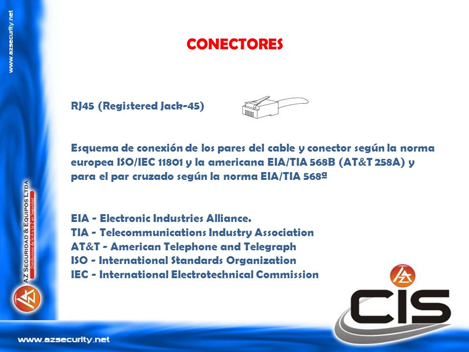 CONECTORES RJ45 (Registered Jack-45)