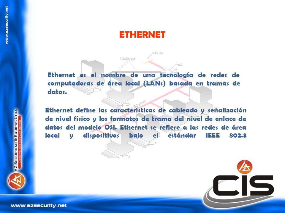 ETHERNET Ethernet es el nombre de una tecnología de redes de computadoras de área local (LANs) basada en tramas de datos.