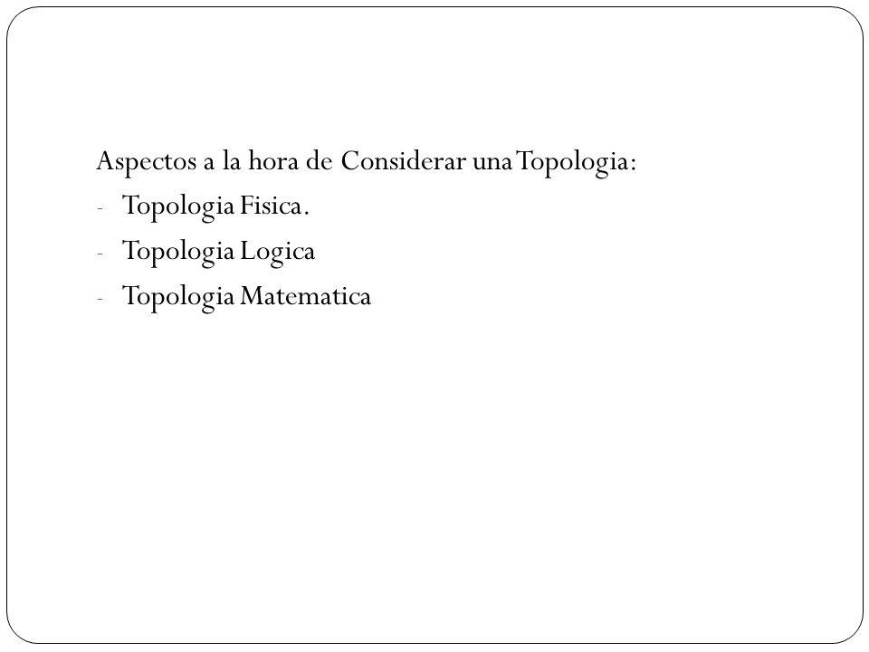 Aspectos a la hora de Considerar una Topologia: Topologia Fisica.