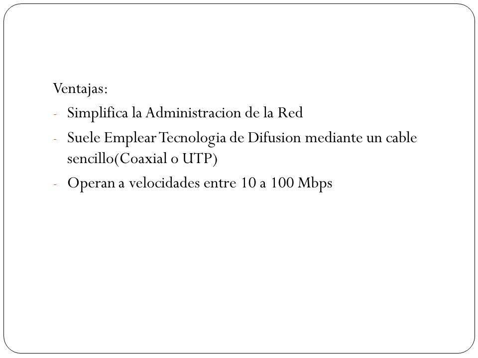 Ventajas: Simplifica la Administracion de la Red. Suele Emplear Tecnologia de Difusion mediante un cable sencillo(Coaxial o UTP)