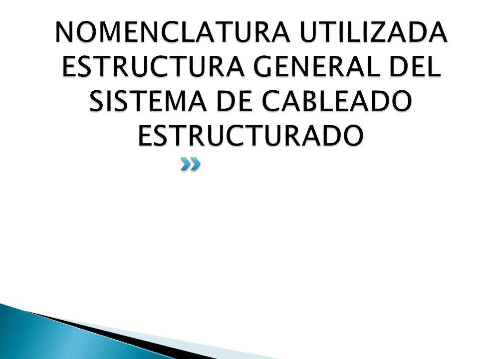 NOMENCLATURA UTILIZADA ESTRUCTURA GENERAL DEL SISTEMA DE CABLEADO ESTRUCTURADO