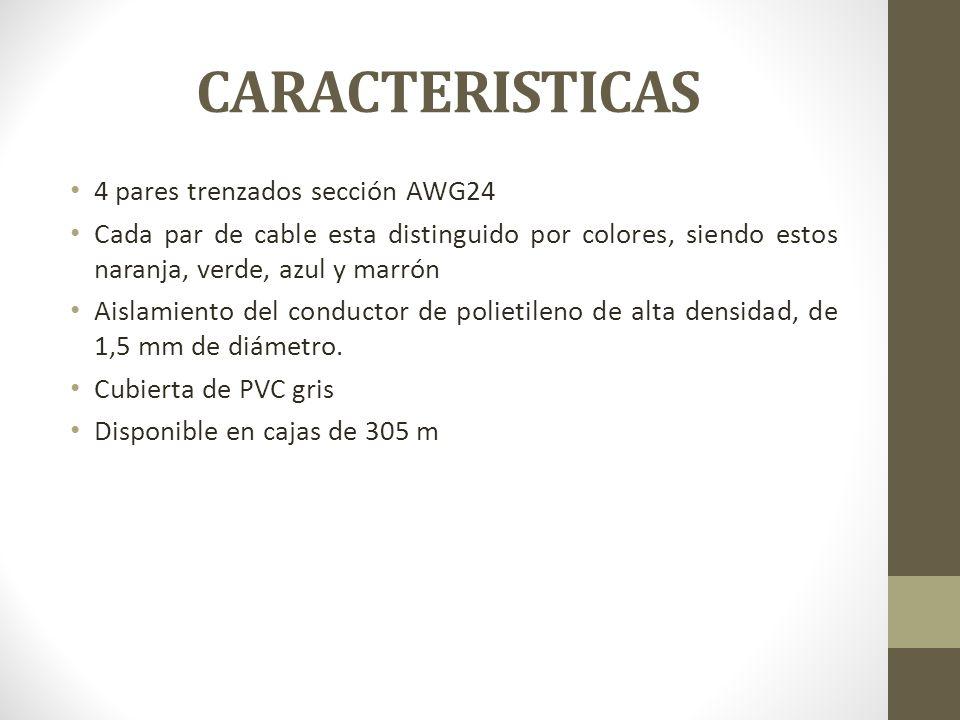 CARACTERISTICAS 4 pares trenzados sección AWG24