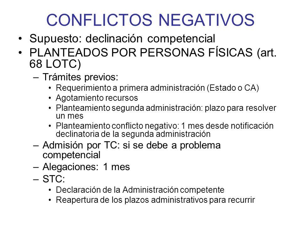 CONFLICTOS NEGATIVOS Supuesto: declinación competencial