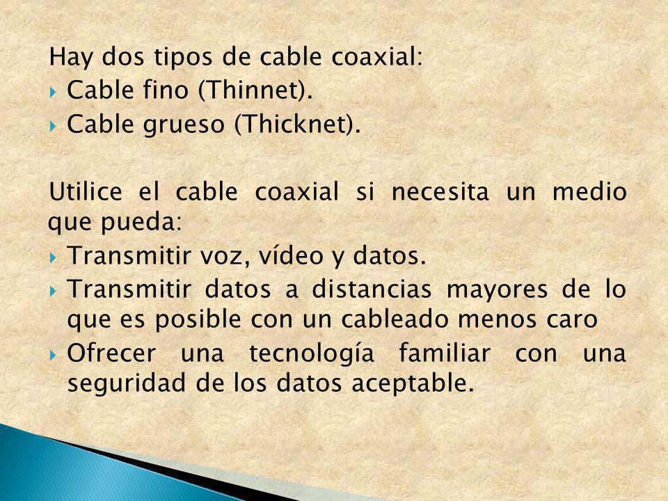 Hay dos tipos de cable coaxial: