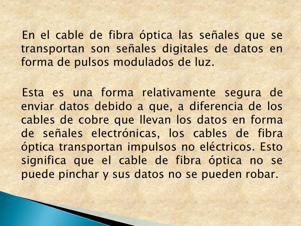 En el cable de fibra óptica las señales que se transportan son señales digitales de datos en forma de pulsos modulados de luz.