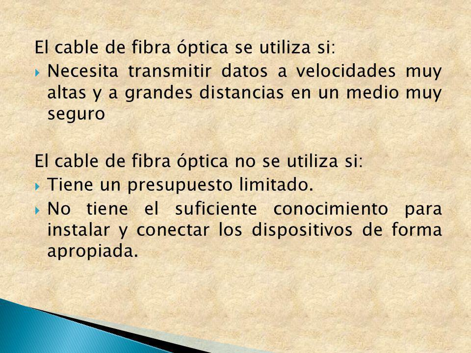 El cable de fibra óptica se utiliza si: