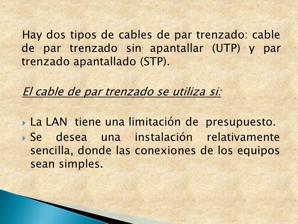 Hay dos tipos de cables de par trenzado: cable de par trenzado sin apantallar (UTP) y par trenzado apantallado (STP).