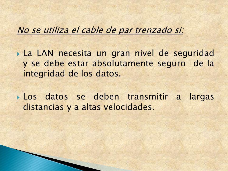 No se utiliza el cable de par trenzado si: