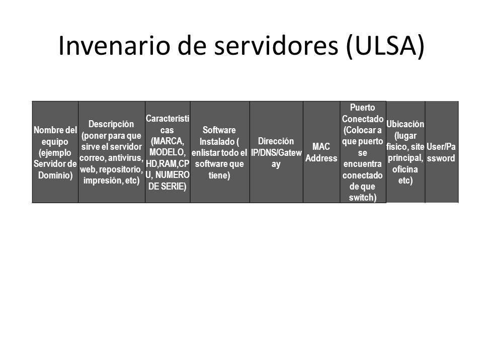 Invenario de servidores (ULSA)