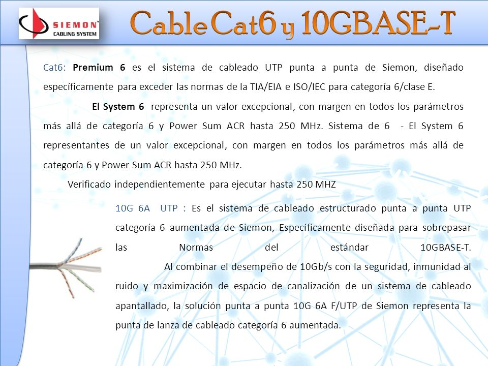 Cable Cat6 y 10GBASE-T