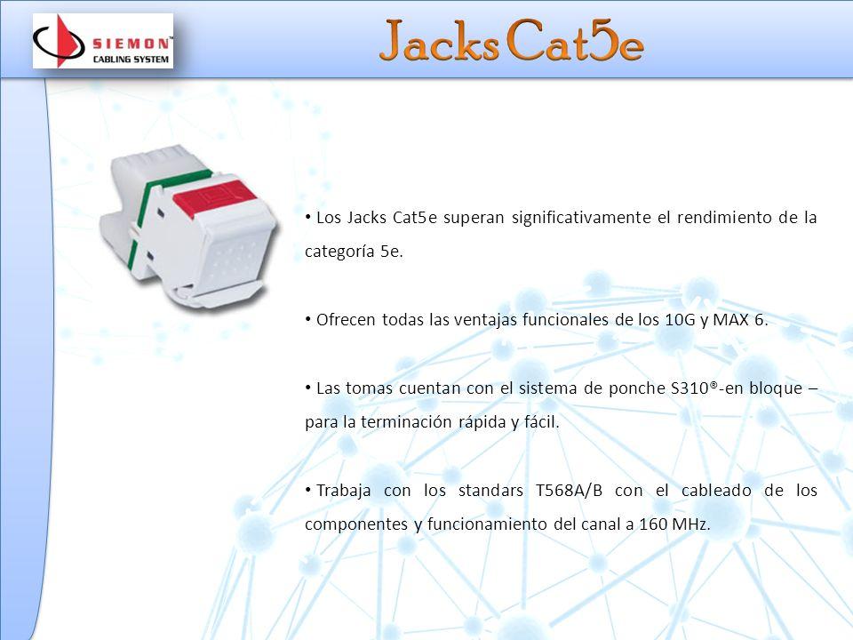 Jacks Cat5e Los Jacks Cat5e superan significativamente el rendimiento de la categoría 5e. Ofrecen todas las ventajas funcionales de los 10G y MAX 6.