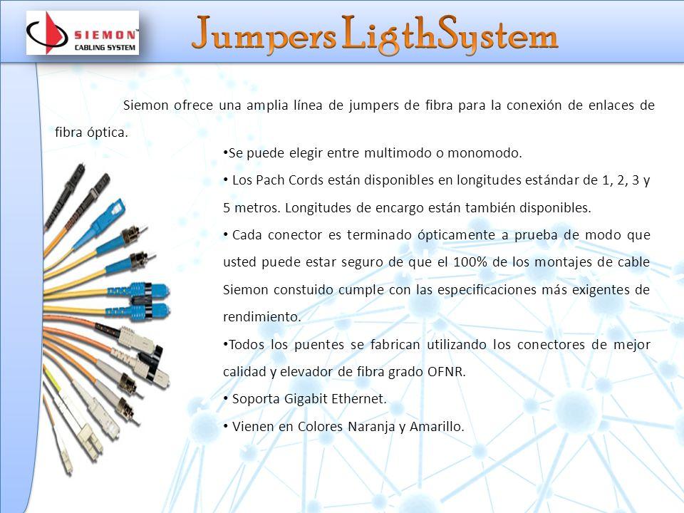 Jumpers LigthSystem Siemon ofrece una amplia línea de jumpers de fibra para la conexión de enlaces de fibra óptica.